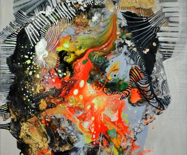 1 MM Abstrakcja pomarańczowa 70x50 cm 1